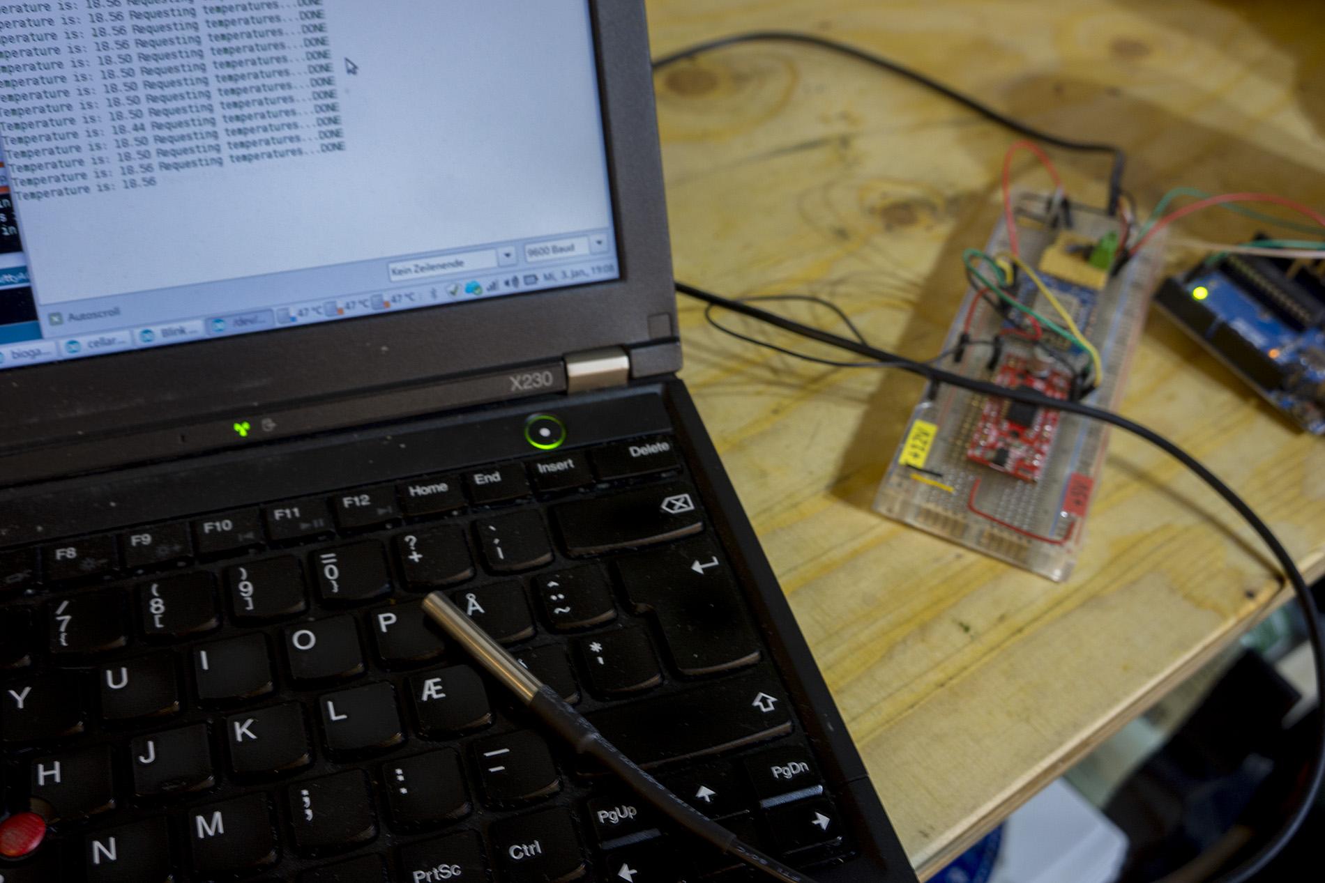 Arduino with DS18B20 to measure milk temperature